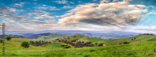 Obraz na plátně Panoramic view of Australian countryside at sunset, New South Wales