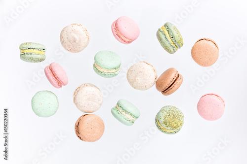 Obraz na plátně Macarons cake, top view flat lay, fly falling pattern macaroon