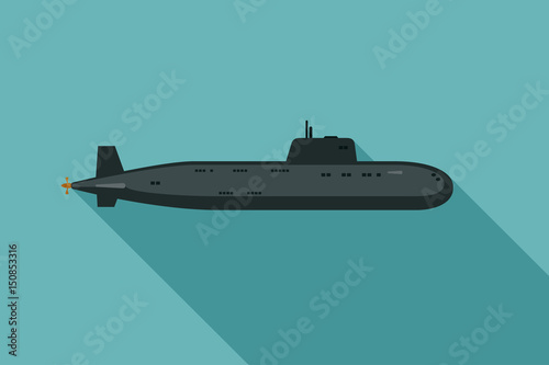 Canvas Print Submarine with long shadow