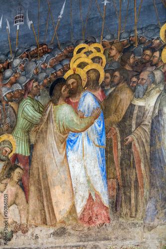 Fototapeta Padua - The frescos Judas kiss  in Baptistery of Duomo or The Cathedral of Santa Maria Assunta by Giusto de Menabuoi (1375-1376)