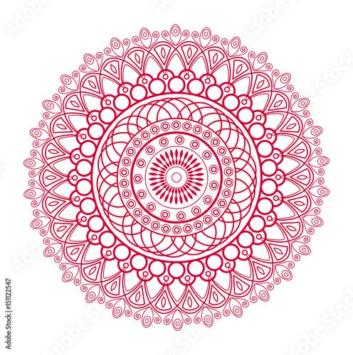 Εκτύπωση καμβά Vector illustration of a red mandala, mandala vettoriale