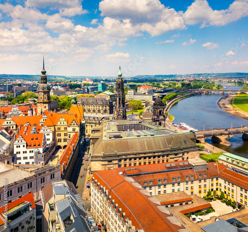 View from Church of Our Lady (Frauenkirche) of the Elbe river and Dresden town