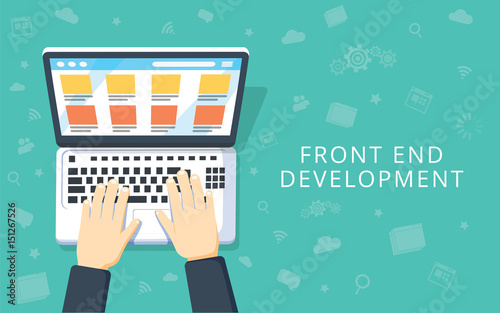 Fototapeta Front End Development, web application, website creating concept
