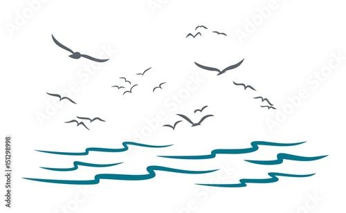 Morze z seagulls.