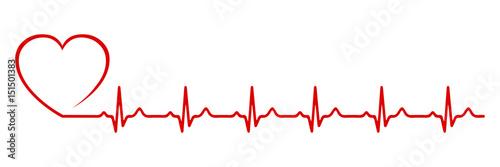 Canvastavla Heart pulse, one line - stock vector