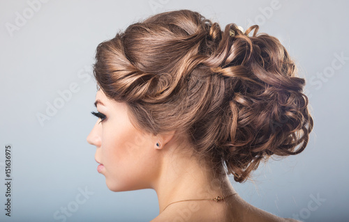 hair styling, bare back
