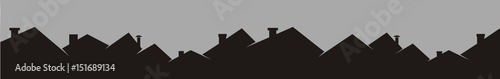 Fotografiet Roofs and chimneys, cityscape, black silhouette, vector icon.