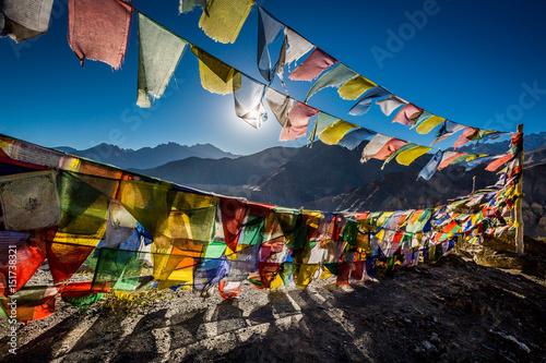 Fotografie, Obraz Colourful Buddhist prayer flags near Lamayuru monastery in the Himalayan mountai