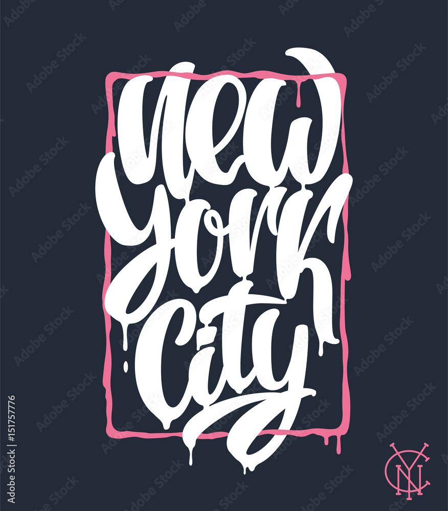Nowy Jork, projekt napis. Ręcznie napisane zdanie <span>plik: #151757776 | autor: rosovskyi</span>