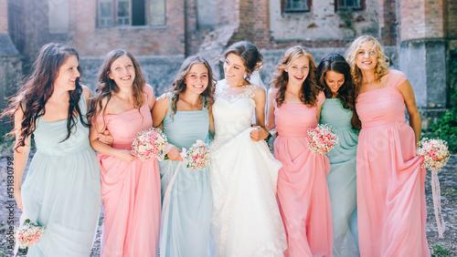 Obraz na płótnie Beautiful bride with her pretty bridesmaids