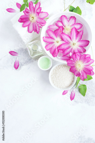 Massage and Spa products with flowers clematis