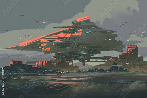 digital art of sci-fi concept with the futuristic colony on a planet with mega s фототапет