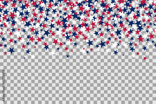 Seamless pattern with stars for Memorial Day celebration on transparent background.