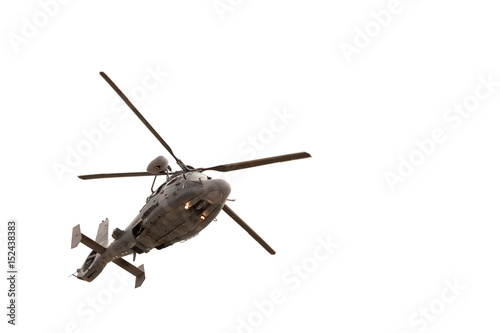 Stampa su Tela Military helicopter in flight, isolated on white