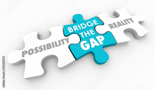 Canvas Bridge the Gap Between Possibility and Reality Puzzle Piece 3d Illustration