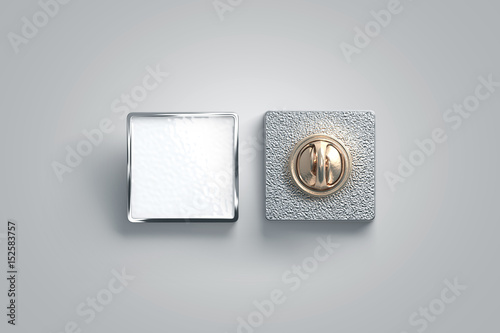 Photo Blank white enamel pin mock up, front and back side view, 3d rendering