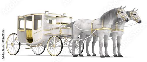 Fotografía A white horse drawn carriage with open door