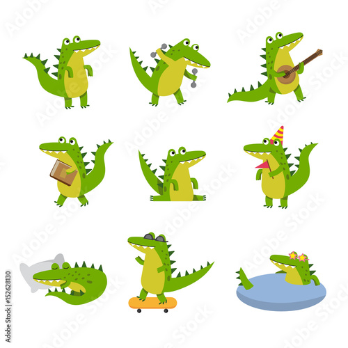 Fotografía Cute cartoon crocodile in different situations, colorful characters vector Illus