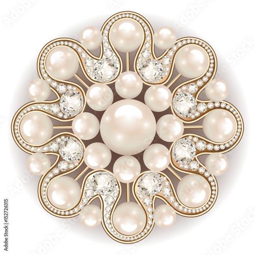 Mandala brooch jewelry, design element Fotobehang
