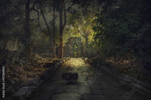 Ancient,abandoned temple of Angkor Wat, Cambodia Fototapeta