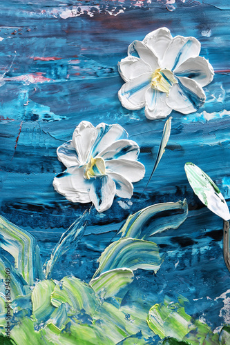 Oil painting of beautiful flowers and palette knife