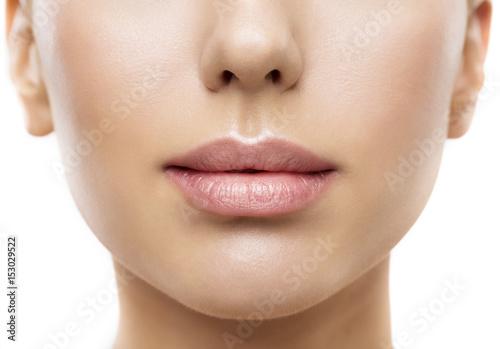Fotografia Lips, Woman Face Mouth Beauty, Beautiful Skin and Full Lip Closeup, Pink Lipstic