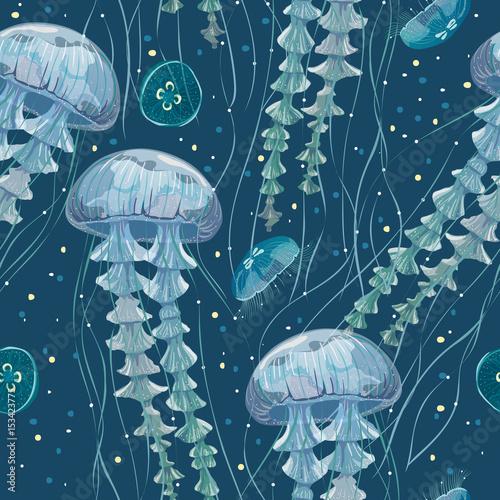 Fototapeta premium Wzór ze szczegółowymi przezroczystymi meduzami. Galaretka morska błękitna na białym tle. Ilustracji wektorowych
