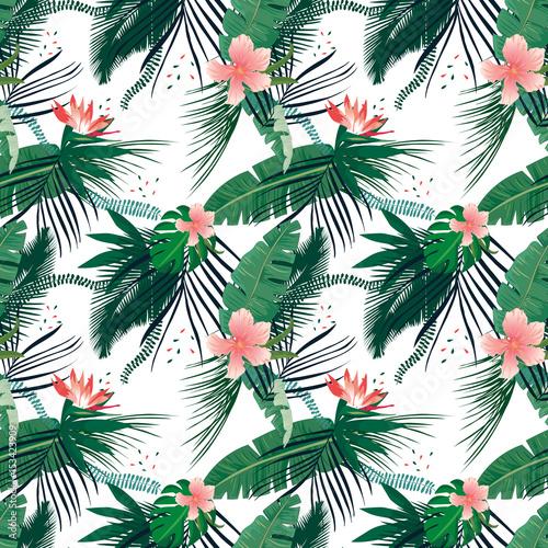 Fototapeta Tropikalne liście palmowe i kolorowe kwiaty na białym tle ścienna