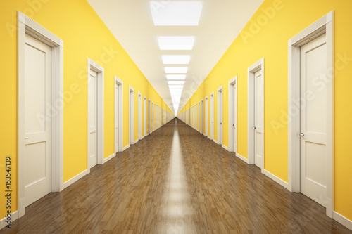 Canvas Print an endless corridor with lots of white doors