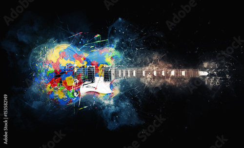Stampa su Tela Colorful psychedelic rock guitar - grunge illustration