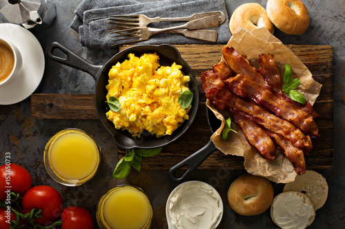 Fotografering Big breakfast with bacon and scrambled eggs