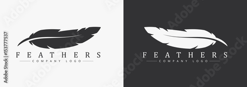 Fotografiet Logo design with feather and company name, for a writer or publishers