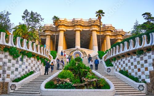 Fotografie, Tablou Park Guell Architecture Details of Gaudi Entrance.