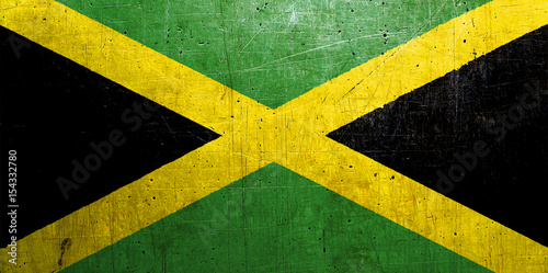 Fotomural Flag of Jamaica, with an old, vintage metal texture