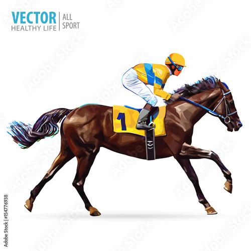 Canvas Print Jockey on horse