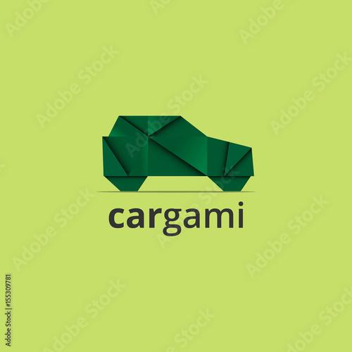 Ilustracja wektorowa samochód origami