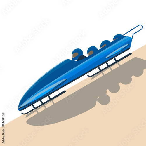 Foto People moving down on bobsled on high speed vector illustration.