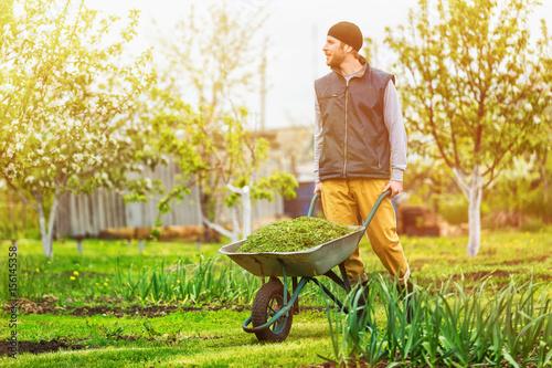 Tableau sur Toile Male gardener is pushing wheelbarrow at spring green garden background