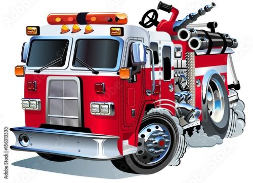 Stampa su Tela Vector cartoon firetruck
