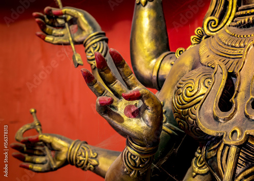 Indian Goddess Durga idol with blessings hand in focus.