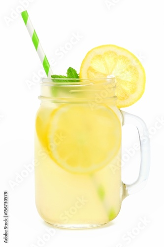 Fotografie, Tablou Mason jar glass of lemonade with straw isolated on a white background