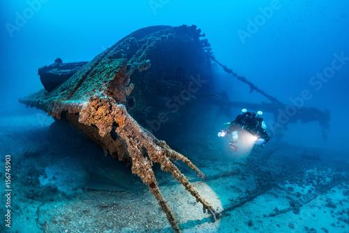 Obraz na plátně Diving on the wreck BRIONI Vis Island