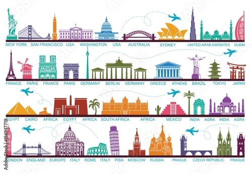 Fotografia Icons world tourist attractions