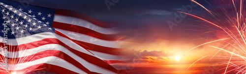 Fotografie, Obraz American Celebration - Usa Flag And Fireworks At Sunset