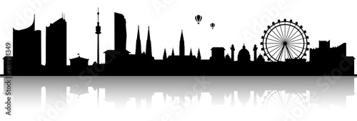 Fototapeta premium Czarna sylwetka panoramę Wiednia