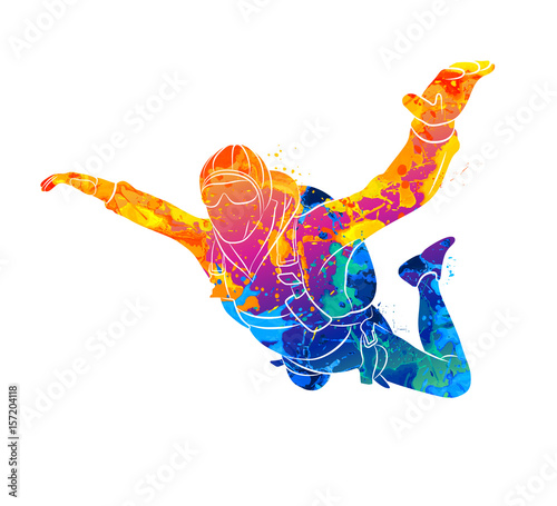 Fotografie, Obraz Abstract skydiver paint
