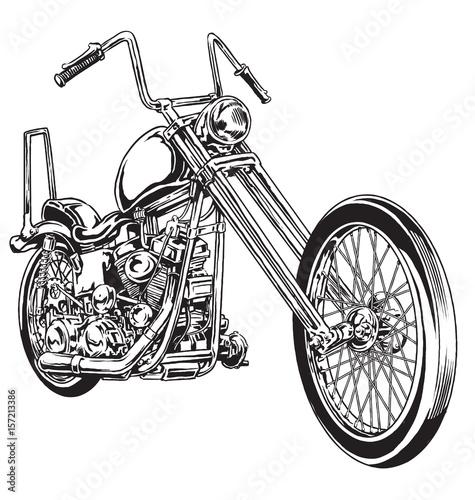 Fényképezés Hand drawn and inked vintage American chopper motorcycle