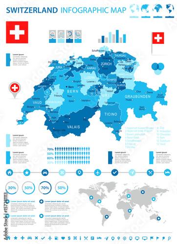 Photo Switzerland - map and flag - infographic illustration