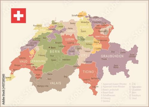Canvas Print Switzerland - vintage map and flag - illustration