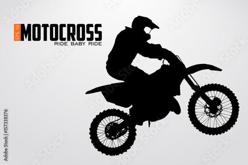 Fototapeta Motocross drivers silhouette. Vector illustration